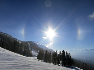 Sundog in clear sky at Lake Louise