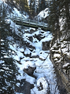 """a stout-timbered bridge crossing the canyon neck-craningly high above"""