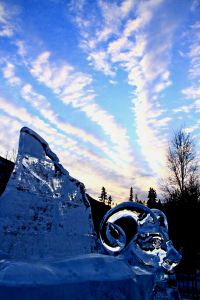 The sun sets on an icy world: as the temperature plummets ice sculptures become more of a feature