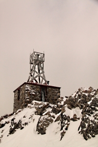 The snow-blasted hut of the Observatory on Sanson Peak