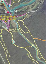 Part of Trails Map showing the Spray and Bow Rivers