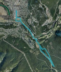 Route on Old Quarry and Spray River Trails