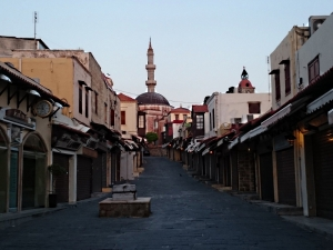 The main street up to the old mosque, usually crowded but early in the season and early in the morning all shuttered tight