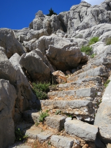 The steps from Agios Vasilios back up to the cliff-top path
