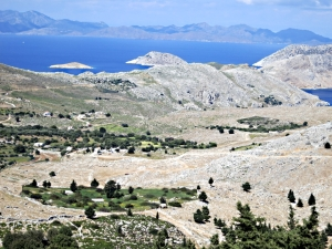 On the way to Agios Emilianos looking across  'oases' of enclosed land