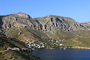 From across the bay looking over Emborios to the Kastri set in the crags