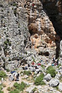 Climbers on the crag behind the Kastri