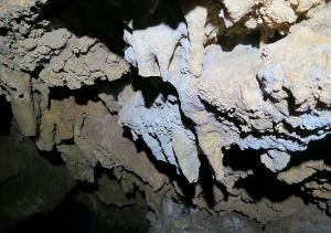 Stalactites coloured probably by the red spoil through which the water would have drained