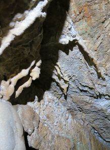 small stalactites and the beginnings of calcite curtains on the ceiling of the passage