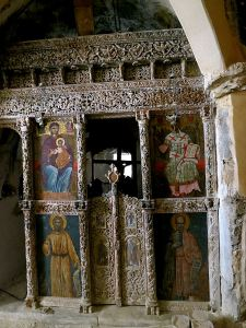The carved iconastis inside the chapel