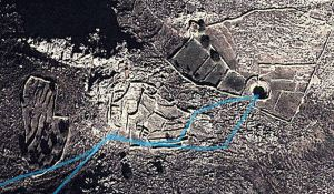 Satellite image of the old settlement at Gria, the pond on the right.  The track of the route in blue
