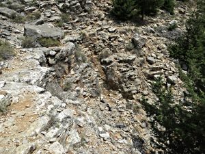 The path crosses a gulley dropping down steeply into the gorge