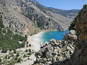 Looking down the crag to Lapathos Beach near Agios Vasilios