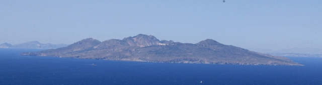 Zooming in on Nisyros, the caldera-rim village of Nikia clearly visible