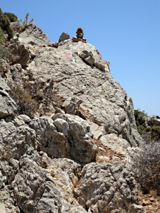 .... sometimes leading straight up rock crags:  note the cairn on top