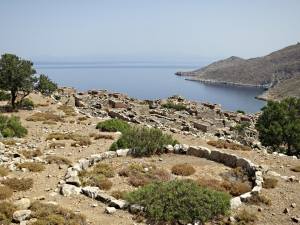 Looking across the deserted village of Ghera, the end of the good path