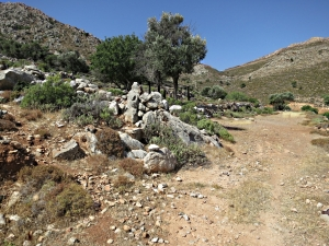 The path to Agia Anna leaves the dirt track