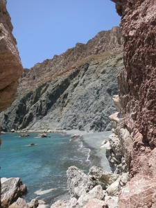 Looking through the fissure in the cliff to 'Green Tholos'