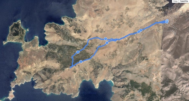 The route plotted on Google Earth