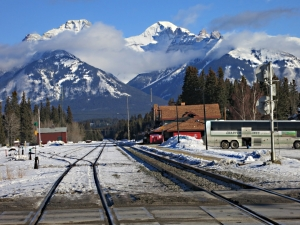 January 2014, looking from the level crossing towards Banff station, at the end of December a marshaling yard for the repair and recovery operation