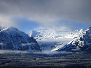 At Lake Louise thin bands of cloud across the valley