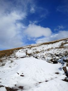 Ice ans drifted snow across the path