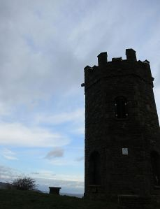 The Folly Tower on top of the ridge above Pontypool