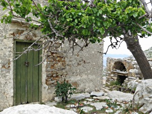 Still-used house with bread oven beyond and shaded by mulberry tree