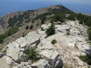 Limestone slabs below the western end of the castle