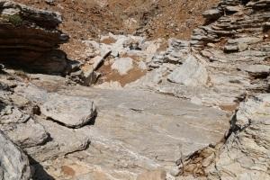 The drop, a long smooth limestone slab