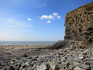 Large rectangular blocks on the foreshore, an indication of the instability of the cliffs at the beginning of the walk near Macross