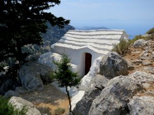 The tiny, very simple church of Agoio Anargiri at the entrance to the Stavros Polemou monastery
