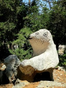 The Symi polar bear at the Agios Dimitris chapel