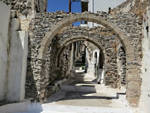 Arches in the centre of Emborios  which help brace the houses against seismic tremors