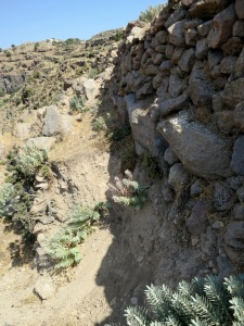 One of the larger collapses in the path.  At this point I traversed across the gap by using hand and footholds on the wall
