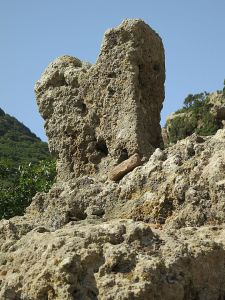 The 'Horns of Consecration' at the entrance to the settlement at Nifios which indicate its Minoan origin
