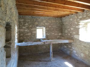 .... and looking the other way, the roof timbers may be new, the walls recently pointed but the sleeping platform is original