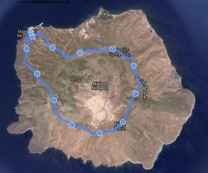 The route, tracked with the GPS on my phone, superimposed on Google Earth.
